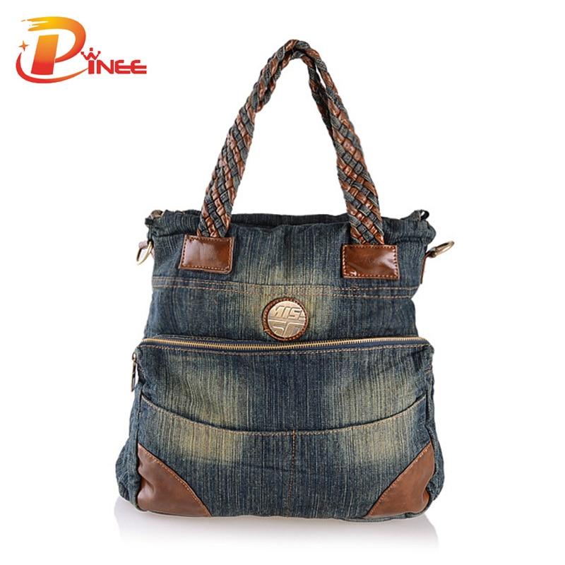 New Denim Bags for Women Patchwork Kntting Handle Tote Bag Ladies Messenger Bag Vintage Shoulder Bag<br>