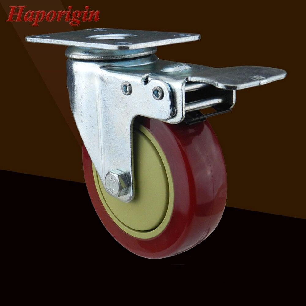 4 Swivel Casters Industrial Castor Universal Wheel Silence PVC Rolling Brake Heavy Caster Shelf Double Bearing Wholesale<br>
