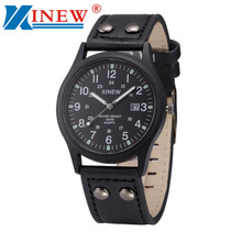 XINEW Men Watches relogio masculino Classic Men's Waterproof Date Leather Strap Sport Quartz Army Watch Men Cool montre homme