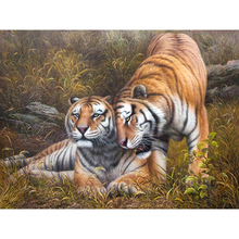 Hot Sale Animal DIY Digital Paint Tiger Oil Painting Number Digital Canva Wall Picture Living Room Cafe Bar Decor Print Poster