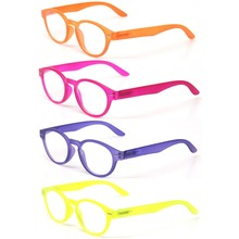 Reading Glasss 4-Pack Spring Hinge Unisex Readers Fashion Men and Women Retro Vintage Oval Color Eyeglasses Diopter Glasses