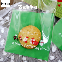 25 pcs/lot 10*10+3 cm Green Santa Claus adhesive bag cookies diy Gift Bag for Christmas New Year Party Candy Food Packaging bag