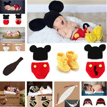 Mickey Designs Crochet Baby Hats Photo Props Infant Costume Outfits Newborn Crochet Beanies&pants&shoes Clothes 1set MZS-14016(China)