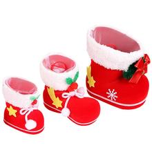 3pcs Xmas Candy Boot Christmas Decorations / Ornaments Gifts Stockings Snacks Pen Container Package Bags For Christmas Tree(China)