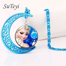 SUTEYI Elsa Anna Olaf cartoon girl jewelry blue moon necklace glass pendant&necklaces female girls sweater chain gift(China)