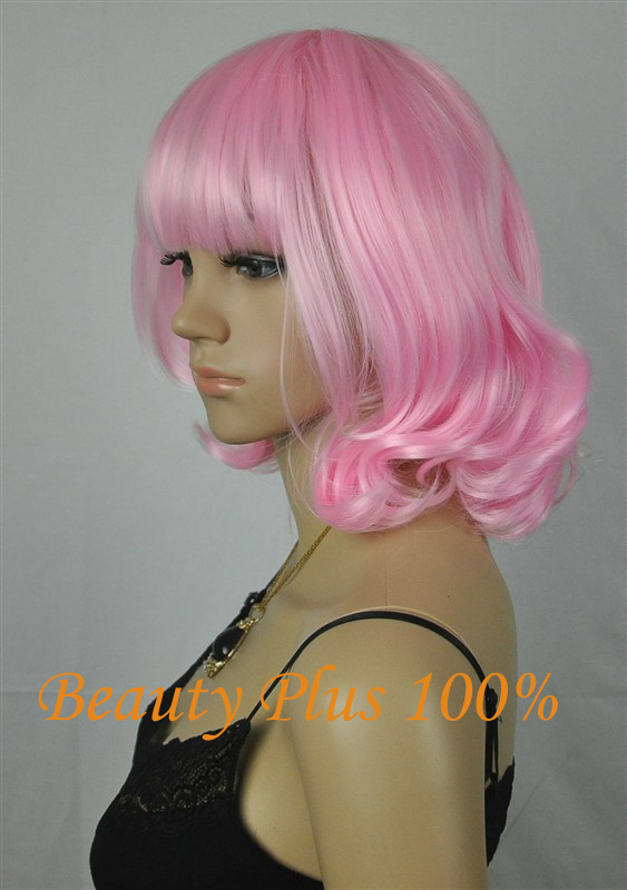 New Hot Heat Resistant short Candy White PinK Fluffy Short Wavy Curly Lolita Wig Anime Wigs Hair Cosplay Wig<br><br>Aliexpress