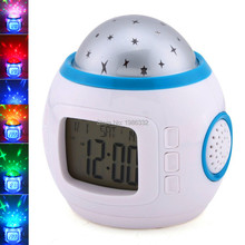 Music Starry Star Sky Digital Led Night Light Projector Lamp Alarm Clock Backlight Time Calendar Thermometer Led Night Lamp(China)