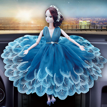 head Arts Crafts The car interior decoration peacock Barbie wedding gauze lady Handmade car decoration gifts art gift craft dec(China)