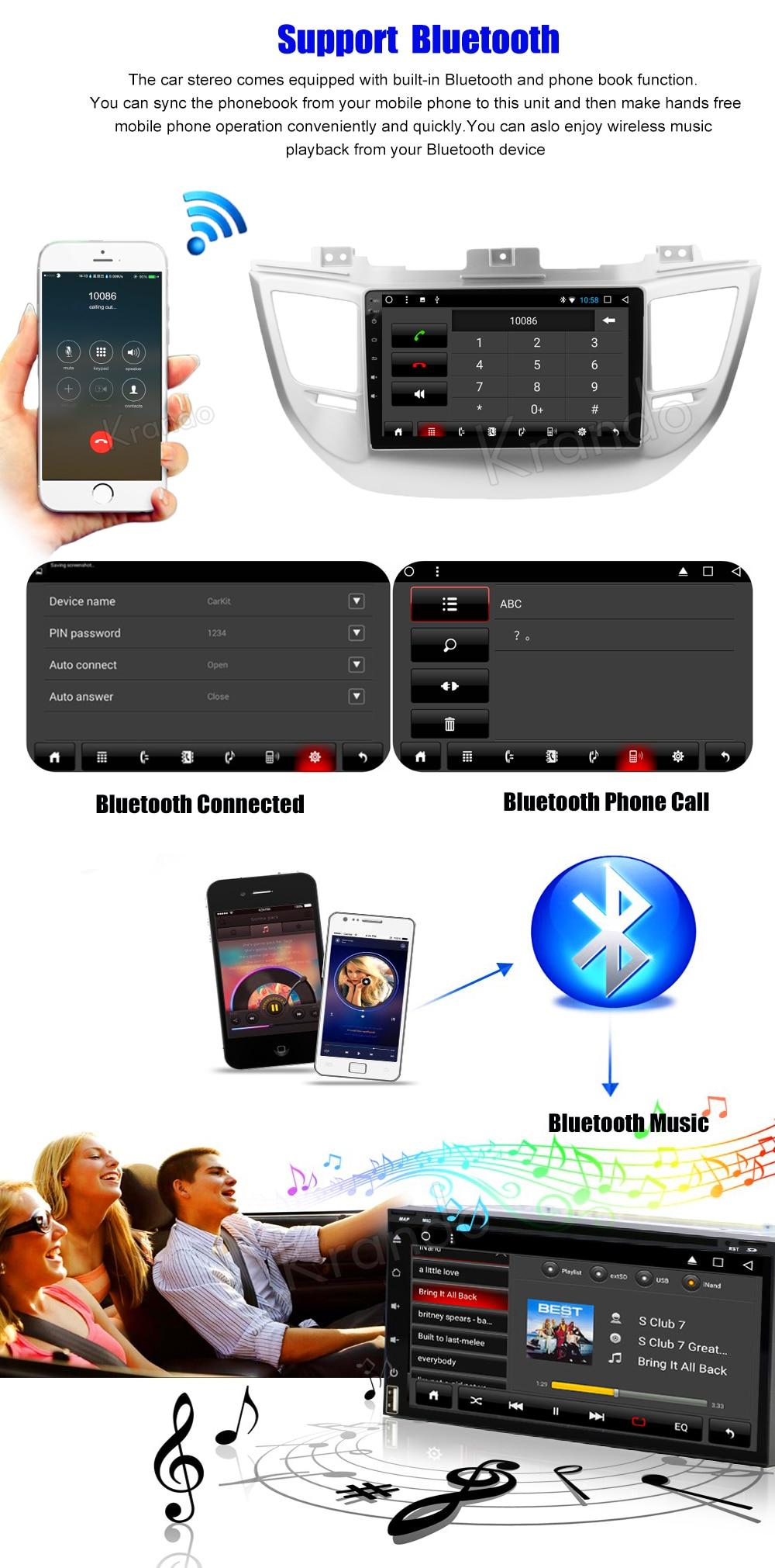 Krando Android car radio gps navigation multimedia system for Hyundai TUCSON 2015