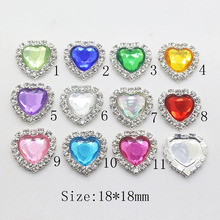 Fashion 10Pc 18mm Heart Acrylic rhinestone brass Button Wedding inviations decorate apply to clothing beauty accessories(China)