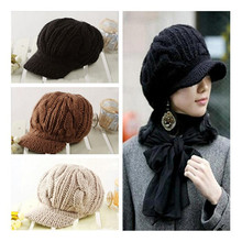 Black/Beige/Coffee Women Peaked Cap Warm Winter Caps Knitted Hats For Woman Lady's Headwear Cloth Accessory(China)