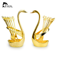 FHEAL Fashion Creative Upscale Tableware Swan Fruit Dessert Forks Set Suits Gold Silver Fruit Dessert Tool Dinnerware Sets
