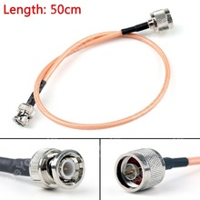 Sale 50cm RG142 Cable BNC Male Plug To N Male Straight Crimp Coax Pigtail 20in High Quality Mini PlugJack Wire Connector Adapter