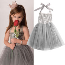 2016 Baby Children Girl Sequins Tulle Cute Dress Clothing Silver Party Gown Fancy Dresses Birthday Gift Girl Clothing Summer