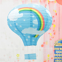 Rainbow printing paper lantern 30cm 1pc hot air balloon wedding decoration children's bedroom hanging birthday party decorations(China)