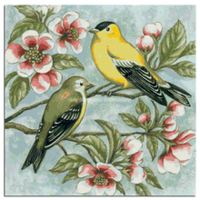 diamond embroidery bird cross-stitch rhinestone yellow sparrow red flowers mosaic crafts photo painting brown animal icons cloth