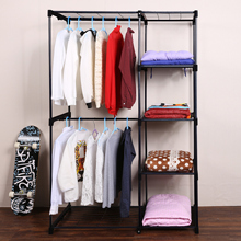 Wardrobe Closet Large Simple Wardrobe Cabinets Simple Folding Shelves With Hanging Bar Shoes Clothes Organizer Closet #50-22