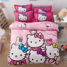 4pcs Hello Kitty Kids Bedding Set with Duvet Cover Bed Sheet Pillowcase Cartoon Children Bed Linen Set Queen Double Twin Size(China)