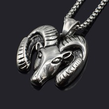 Dolaime Street Fashion Skate Style Necklace Stainless Steel Goat Sheep Head Silver Color Male Pendants 30mm*29mm P724(China)