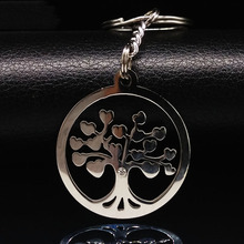 Stainless Steel Tree of Life Key Chain Women Men Jewelry Silver Pendant Keychain Fashion Tree Pendant Keyring Holder Bag K6883