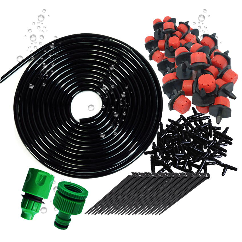 25 meters DIY Automatic Micro Drip Irrigation System Watering Garden Hose Kits with Adjustable Dripper Smart Controller Suits