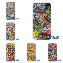 JDM Car Graffiti Sticker Bomb Soft Silicone TPU Transparent Phone Cover Case For iPhone 4 4S 5 5S 5C SE 6 6S 7 Plus