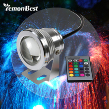 10W 12v underwater RGB Led Light 1000LM Waterproof IP65 fountain pool aquarium Lamp 16 color change 24key IR Remote controller(China)