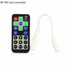 Mini 19key RF RGB Controller 12A for RGB 5050 LED Strip Wireless DIY Dynamic 5V/12V/24V with Remote control black controller(China)