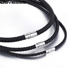Davieslee 4/6/8mm Thin Black Braided Cord Rope Man Made Leather Necklace Silver Stainless Steel Clasp Wholesale Jewelry LUNM09(China)