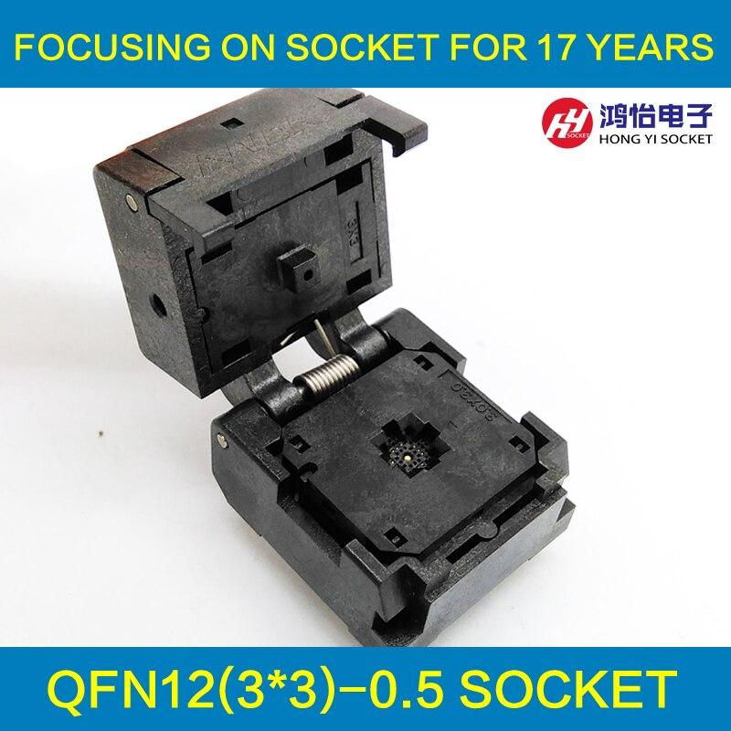 QFN12 MLF12 Burn in Socket IC Test Socket Pitch 0.5mm Chip Size 3*3 Flash Adapter Clamshell Programming Socket<br>