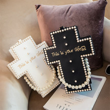 Women Fashion Handbag Pearl Chain Messenger Bag This Is Your Life Crucifix 3D Style Harajuku Cross Body Shoulder Bags(China)