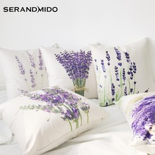Hot Selling Purple Lavender Flowers Waist Cushion Cases Elegant Linen Cotton Pillow Covers for Bedding Home Decor SMC1731T-90()