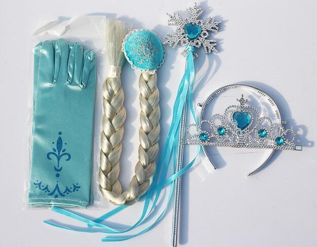 Frozen Elsa Gloves Crown Tiara Wig Play Fancy Dress girls hair children/'s Party