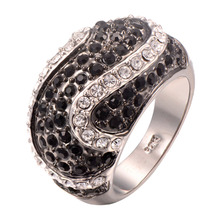 wholesale Black onyx White Crystal Zircon 925 Sterling Silver Ring Fashion Ring Size 6 7 8 9 10 11 F1243