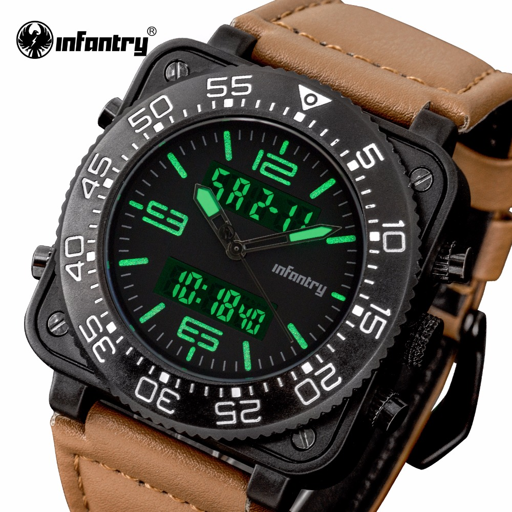 Luxury Brand Men LED Analog Digital Leather Sports Watche INFANTRY Square Face Army Military Man Quartz Clock Relogio Masculino<br>