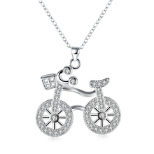 YYW Woman Fashion Silver-color Necklace Luxury Crystal Bike Bicycle Pendant Long Chain Women Jewelry Oval Chain Christmas Gift