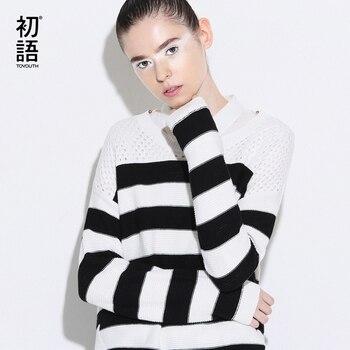 Toyouth suéter de punto 2017 del resorte nuevas mujeres remiendo de la raya de manga larga ahueca hacia fuera jerseys jerseys