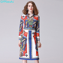QYFCIOUFU High Quality 2 Piece Set Women Long Sleeves Collar Beading Tops And Blouses + Runway Fashion Printed Pencil Skirt