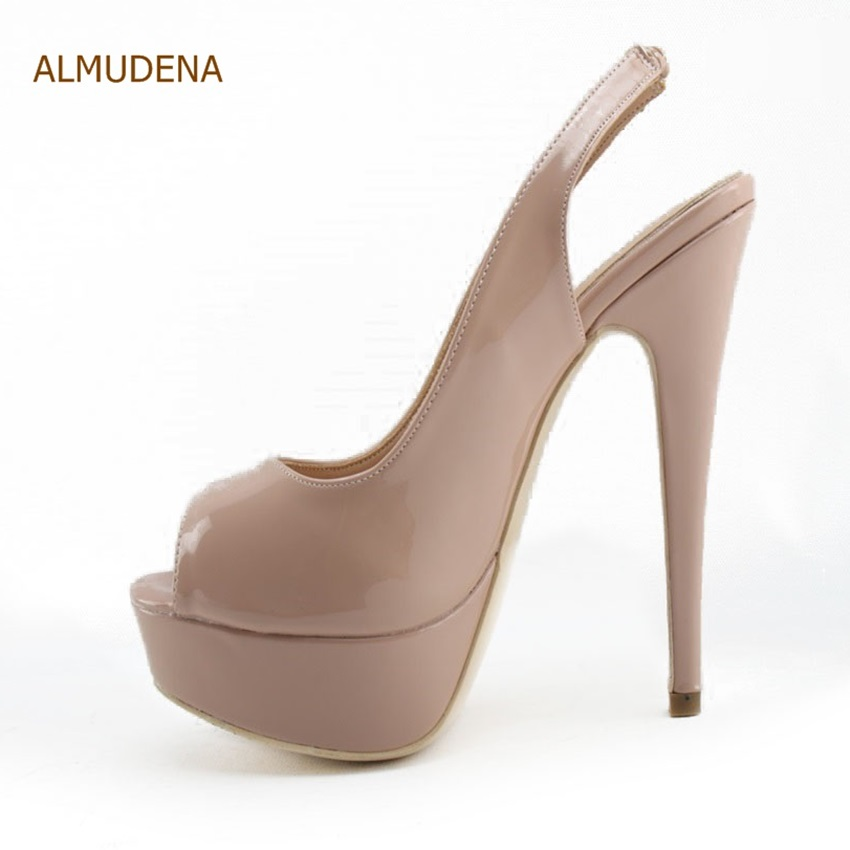 ALMUDENA Elegant Nude Patent Leather Peep Toe Pumps Slingback Elastic Band Dress Shoes Stiletto Heels Platform Party Shoes Pumps<br>