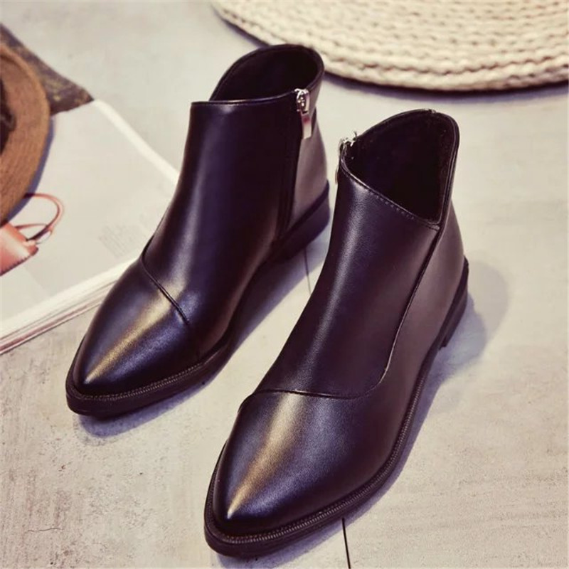 Women Fashion Ankle Boots Pu Leather Pointed Toe Short Boots 2016 Brand Female Autumn Boots Botas Mujer Chaussure XK090204<br>