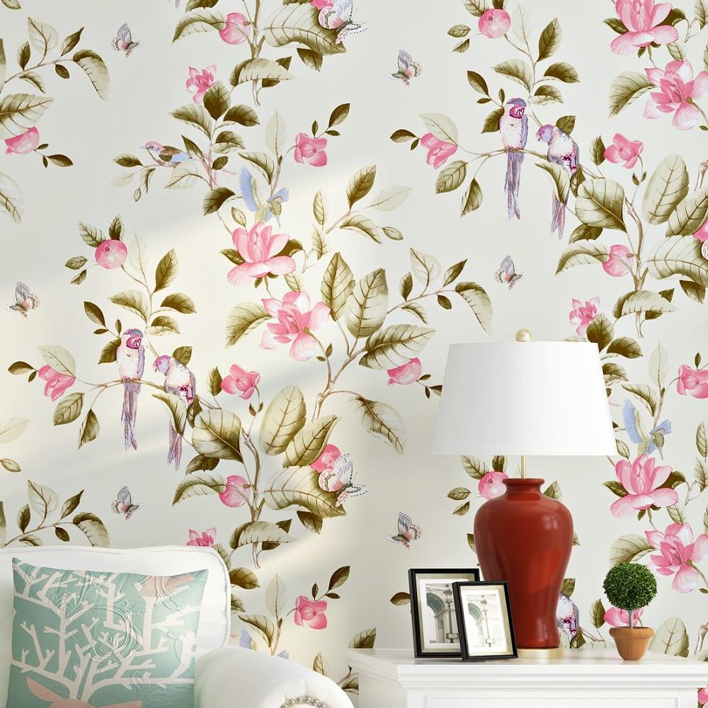 Floral Leaves and Birds Mural Wallpaper Roll tapeten vintage blumenmuster<br>