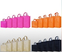 Qi 20pcs/lot Fashion Women Shopping Bag Grocery Non-woven Tote Reusable Portable Bag Candy Color Clothes Packaging Handle Bag