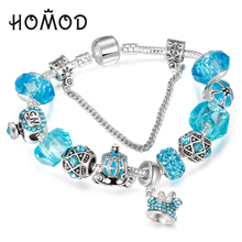 Sky Blue Crystal Charm Bracelets & Bangle For Women Silver plated Minnie pendant Brand bracelet femme Wedding DIY Jewelry(China)