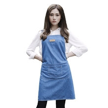 Personality customization Simple Pure cotton Denim work Kitchen apron Woman Cooking Restaurant Barista work Pinafores Tablier