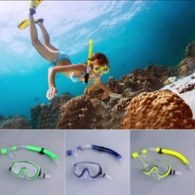 Swimming Scuba Semi-dry Snorkel Breath Tube + Diving Mask Glass Lens Set nieuwe collectie
