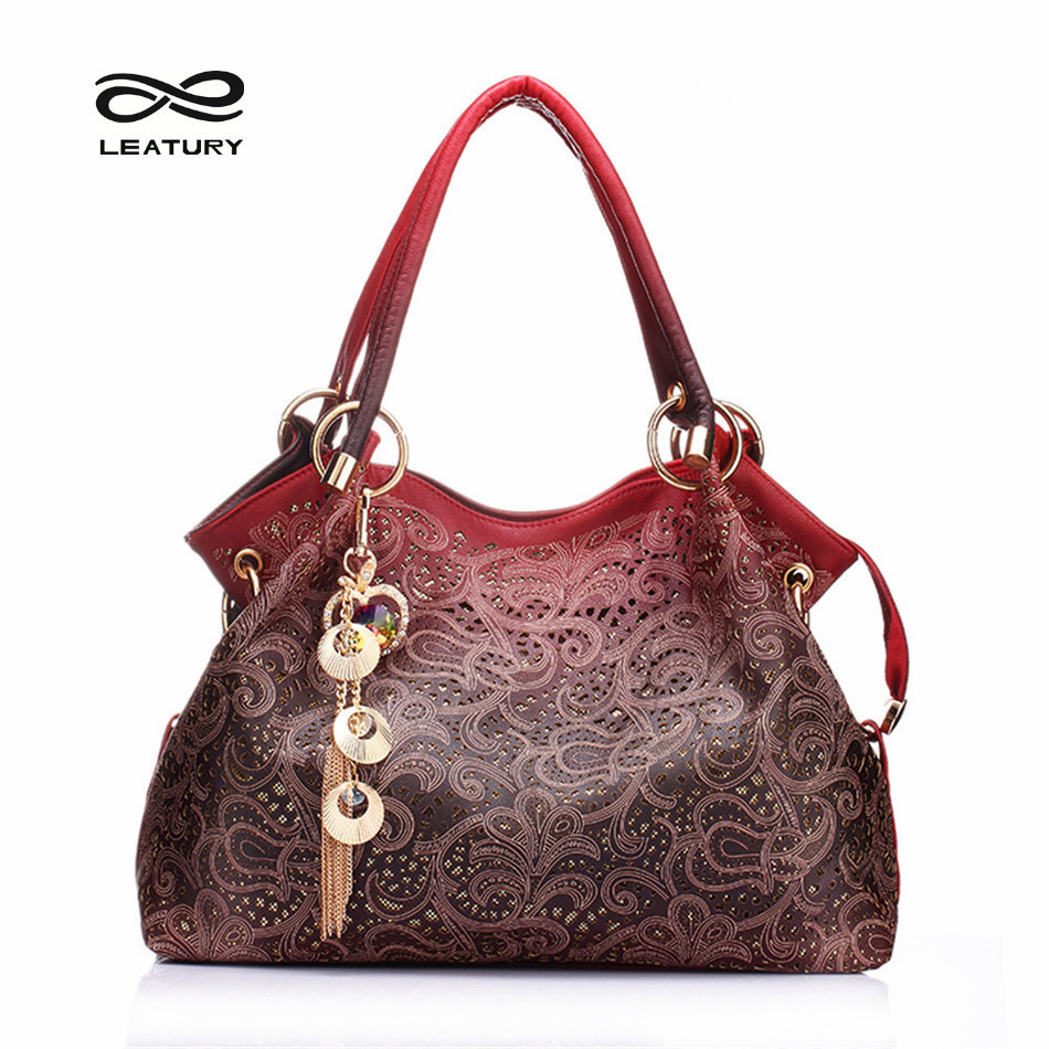Leatury Brand Women Bag Hollow out ombre Handbag Floral Print Luxury Handbags Women Bags Designer Ladies pu Leather Tote Bag <br><br>Aliexpress