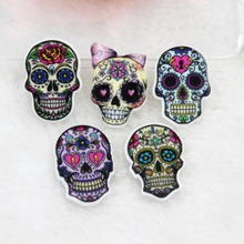 10pcs/lot DIY planar resin cabochons accessories flat back resin skull with flowers(China)
