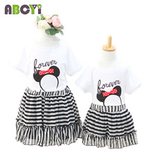 Matching Mother Daughter Clothes 2015 Summer 2-11Y Girl Skirts Women Pleated Skirt Black and White Stripe Chiffon Princess Skirt