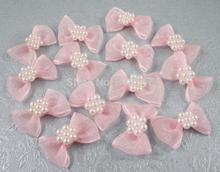 2.5*1.5cm Pink Color Pearl Bows Girls Boutique Mini Hair Bow Headwear DIY Garment Craft 12pcs/lot 14020015(2.5*1.5D12)(China)