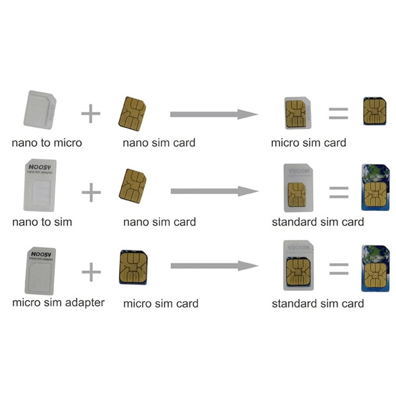 Noosy Sim Card Adapter Nano Micro Sim Cards Adapters & Eject Pin Key For Apple iPhone 5 5S Se 4 4S Samsung Galaxy Grand Prime (2)